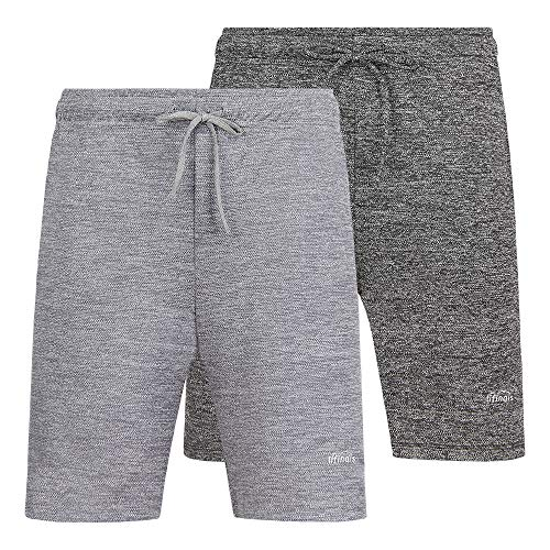 LIFINAIS Men's Athletic Shorts with Pockets Gym Running Workout Shorts Active Training Shorts Casual Shorts(XX-Large, 2 Pack:Dark Gray,Light Grey)