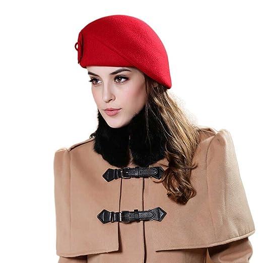 Binmer(TM)Women Felt French Beret Beanie Felt Pillbox Hat 100% Wool ... 8324cf4187