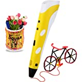 Soyan Standard 3D Printing Pen for Kids, with ABS Filament Sample and Drawing Templates (Yellow)