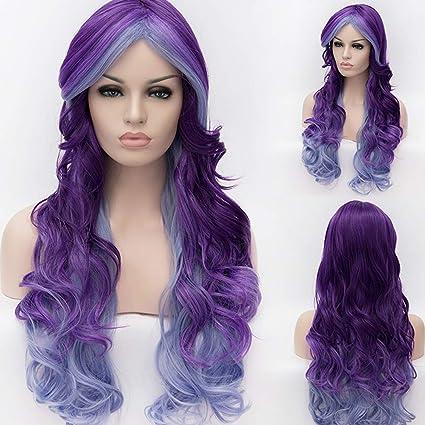 atayou larga lockig Mixed Color Lila damne Cosplay peluca + Peluca Tapa: Amazon.es: Belleza