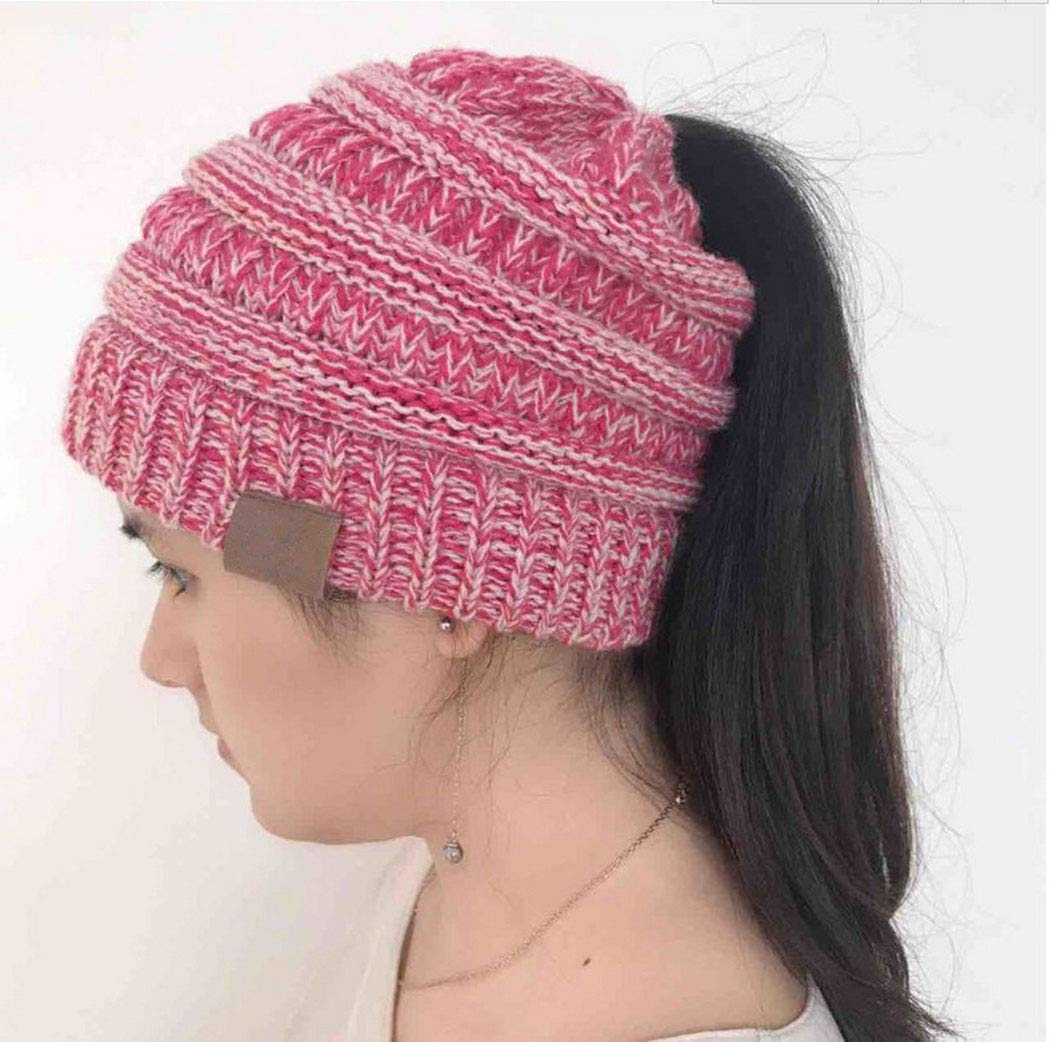 RIOLIFE Slouchy Beanie Hat Men Women Winter Warm Chunky Soft Cable Knit Cap (Rose Red) by RIOLIFE (Image #2)