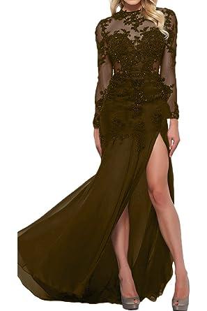 Royaldress Braun Chiffon Lang Abendkleider Ballkleider Partykleider Mit Spitze  langarm Etuikleider: Amazon.de: Bekleidung