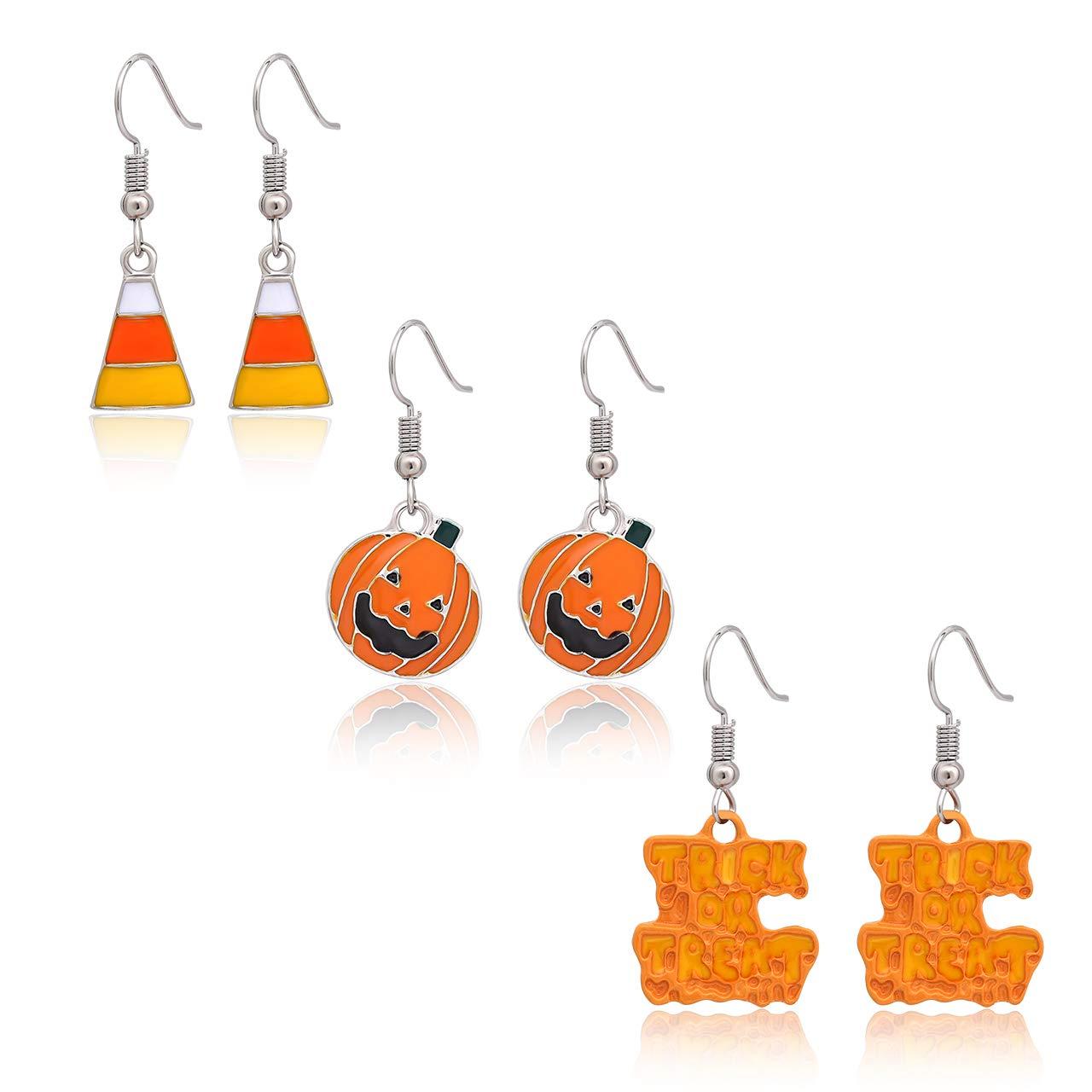Halloween Jewelry 3 Pairs Halloween Drop Earrings Pumpkin Candy Corn Trick or Treat Trio Halloween Earrings Set Daxi