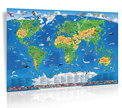 NEU- XXL/1,35 Meter Panorama Kinder Weltkarte - laminiert, beschreib- & abwischbar
