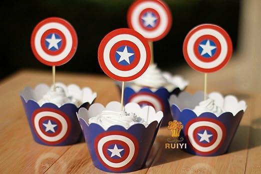 24set, el Capitán América de Los Vengadores para cupcakes de ...