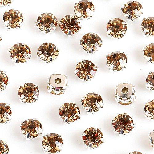 (Greatdeal68 3mm to 8mm Glass Rhinestone Sew-on silver settings with 4 holes Crystal/ Crystal AB/ Color (4mm 100pcs, Light Col. Topaz))