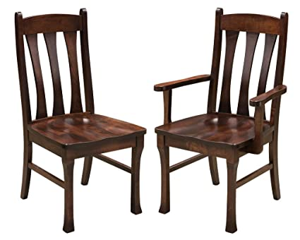 Amazon Com Set Of 2 Cluff Dining Arm Chairs In Brown Maple With