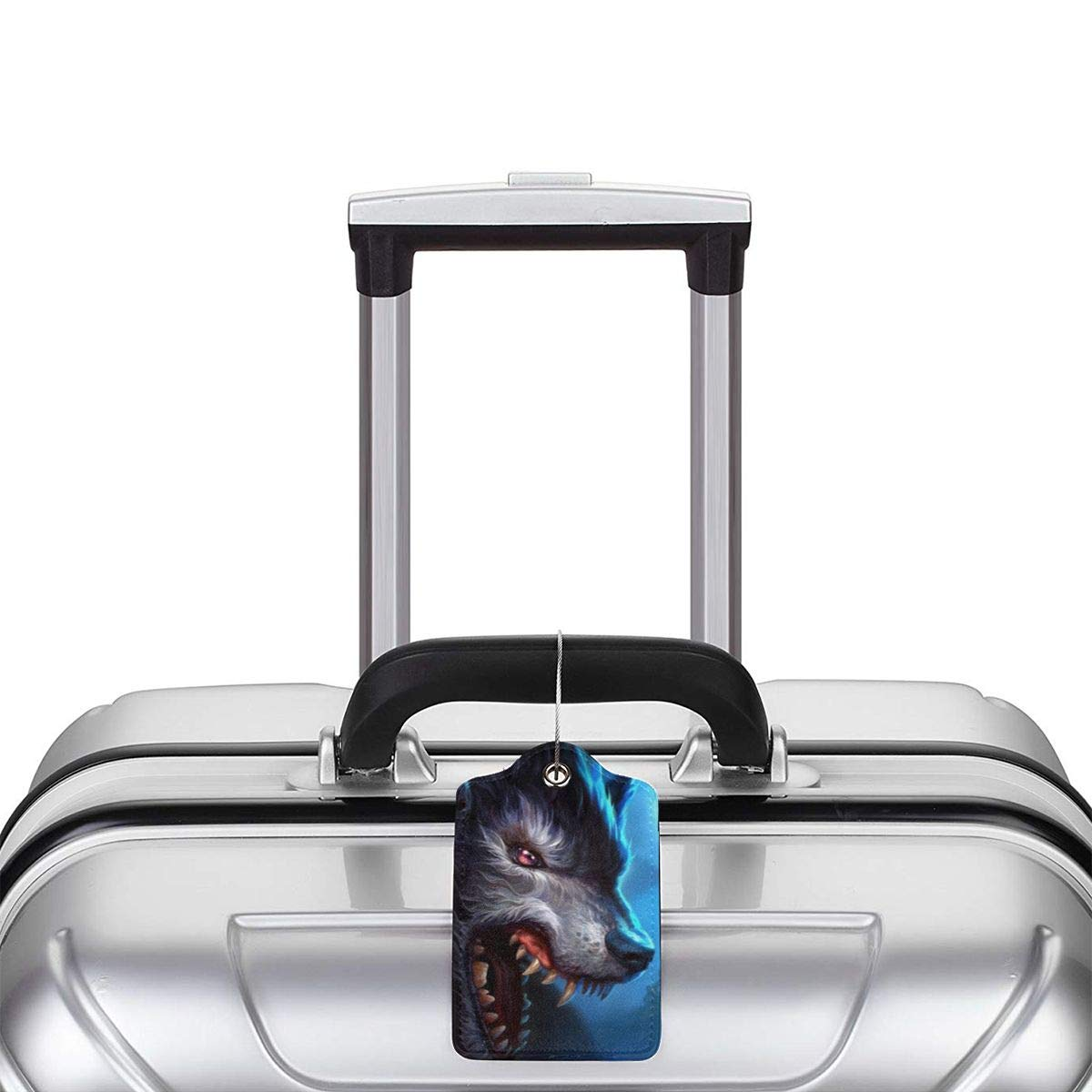 Wild Wolf Moon Travel Luggage Tags With Full Privacy Cover Leather Case And Stainless Steel Loop