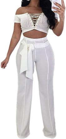 Mujer Pantalones Mujer Elegantes Color Solido Cintura Alta Pantalones Palazzo Pantalon Anchos Largas Slim Fit Moda Party Bastante Pantalones De Traje Con Cinturon Amazon Es Ropa Y Accesorios