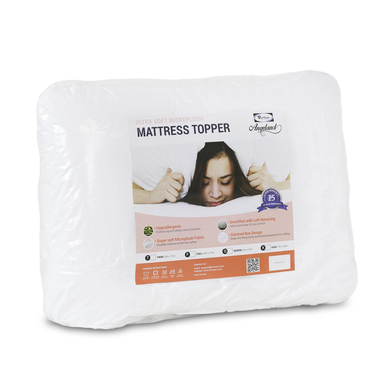 Furinno Angeland Ultra Soft Microplush Mattress Topper, Full, White