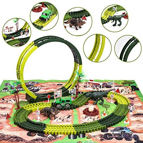 Wodtoizi Dinosaur Toys Slot Car Playset Dinosaur Race Track Toy Race Car Track Sets Dino World Kids Toy Fast Car Flexible Track Colorful Mat Wonderful Loop Boy Girl Birthday Christmas Party Gift from wodtoizi