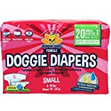 Disposable Dog Female Diapers | 20 Premium Quality Adjustable Pet Wraps with Moisture Control & Wetness Indicator | 20 Count Small Size
