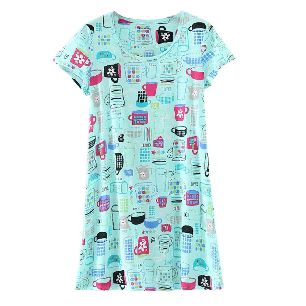 ENJOYNIGHT Women\'s Sleepwear Cotton Sleep Tee Short Sleeves Print Sleepshirt (Small, Cup)