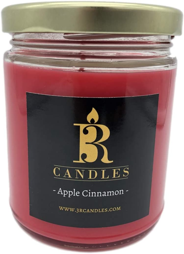 Apple Cinnamon Scented Candle by 3R Candles - Soy/Paraffin Wax Glass jar - Fall Home Decor Gifts for Holiday & Christmas Season - Essential Autumn Gift Ideas