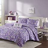 3 Piece Girls Light Purple Boho Chic Elephant Theme Coverlet Twin XL Set, Beautiful Girly All Over Bohemian Paisley Floral Bedding, Multi Elephants Flower Themed Pattern, Lilac Lavender Yellow White