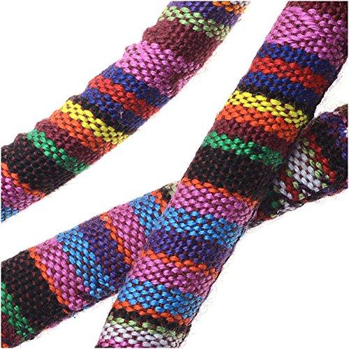 Regaliz Multi-Colored Cotton Cord, Oval Woven Strands 7x9mm, 3 Feet, Purple Stripe (Multi Colored Cord)