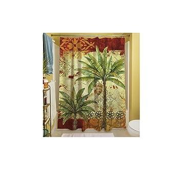 1 Stück rot Tropische Motto Vorhang für die Dusche, Palme Hawaii ...