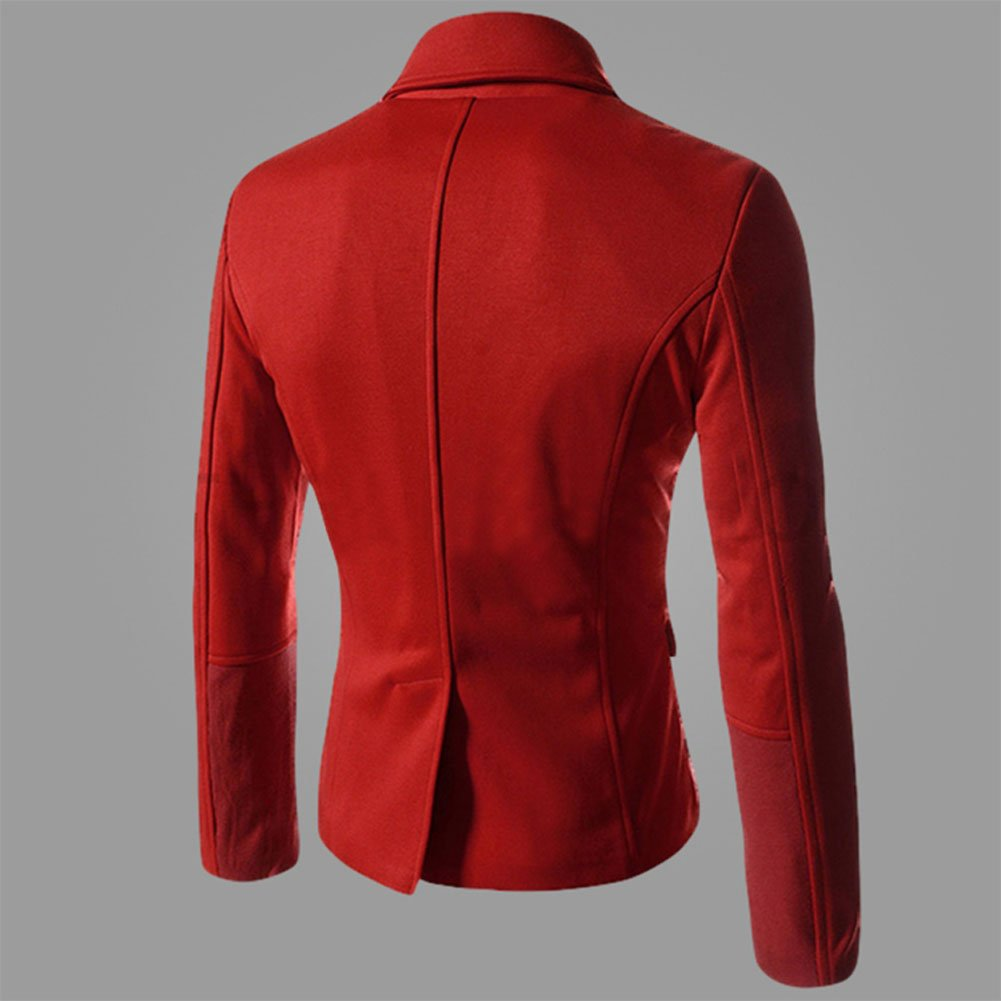 Your Gallery Mens Special Design Double Breasted Turtleneck Inner Padding Pea Coat