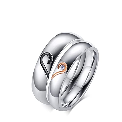Beydodo Ring for Him and Her Matching Rings for Couples Stainless Steel Puzzle Heart CZ Size 10 & Men Size 10 | Amazon.com