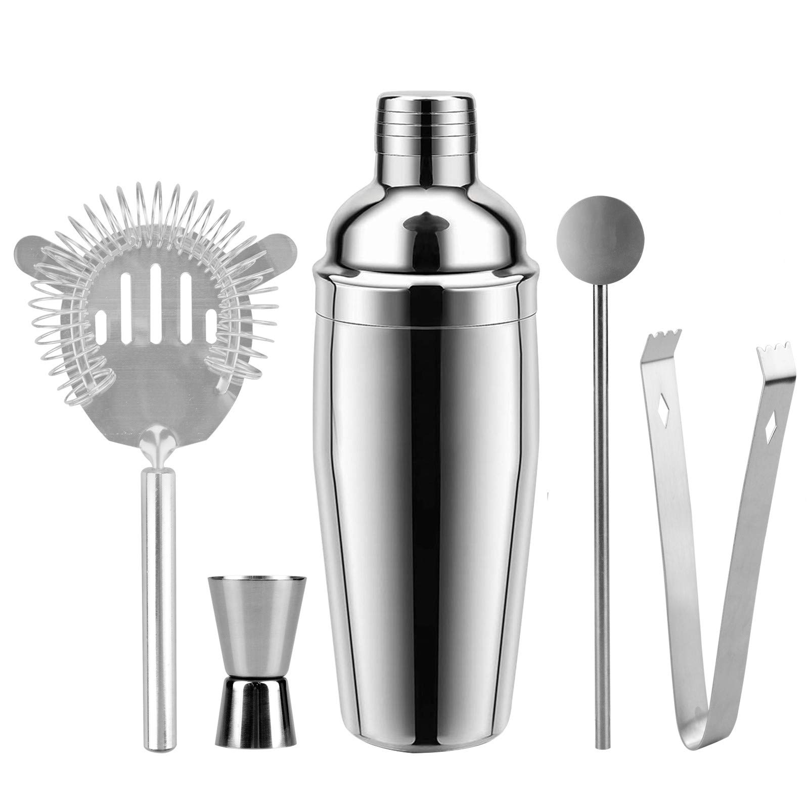 Cocktail Shaker 26 Ounce Martini Shakers Professional Stainless Steel Bartender Barware Tools Kit with Built-in Strainer Drink Recipes by Abool by Abool