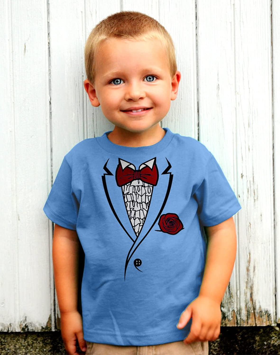 Amazon.com: Printed Ruffled Tuxedo Suit With Red Bow Tie Boys ...