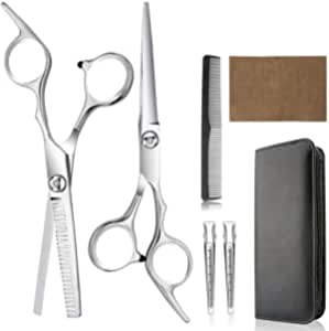 Hair Cutting Scissors, Professional Hair Cutting Shears - Home Haircutting Barber Salon Thinning Shears Kit with Comb and Case for Men Women Adult Cutting Styling Hair Tool Silver