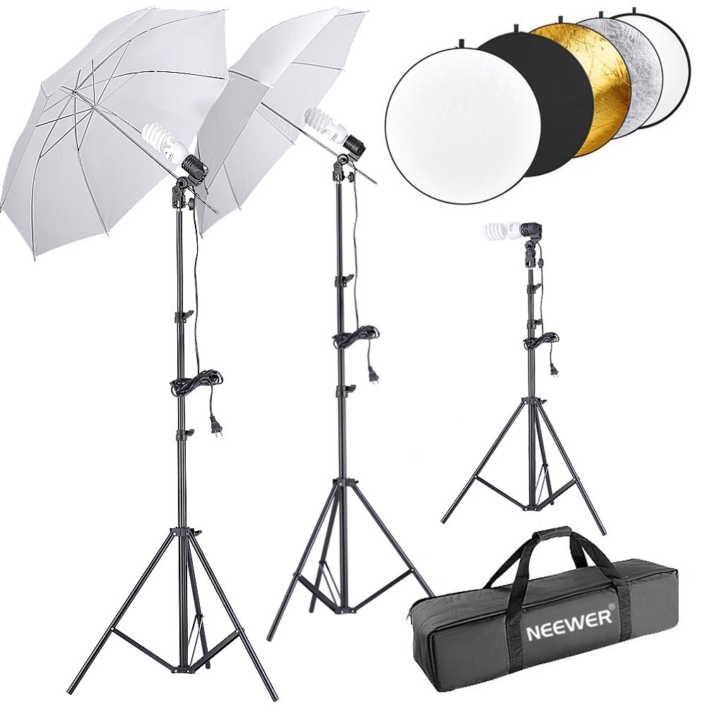 Neewer 600W 5500K Umbrella Reflector and Stand Kit Includes:(2)White Umbrella, (1)5-in-1 Reflector(2)6 feet and(1)1.6 feet Light Stand, (3)45W Bulb(3)Light Holder and(1)Carry Case for Studio Photography 90090965@@os1