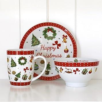 Porzellan Weihnachten.3tlg Geschirr Set Happy Christmas Aus Porzellan Weihnachten Traditionell Rot