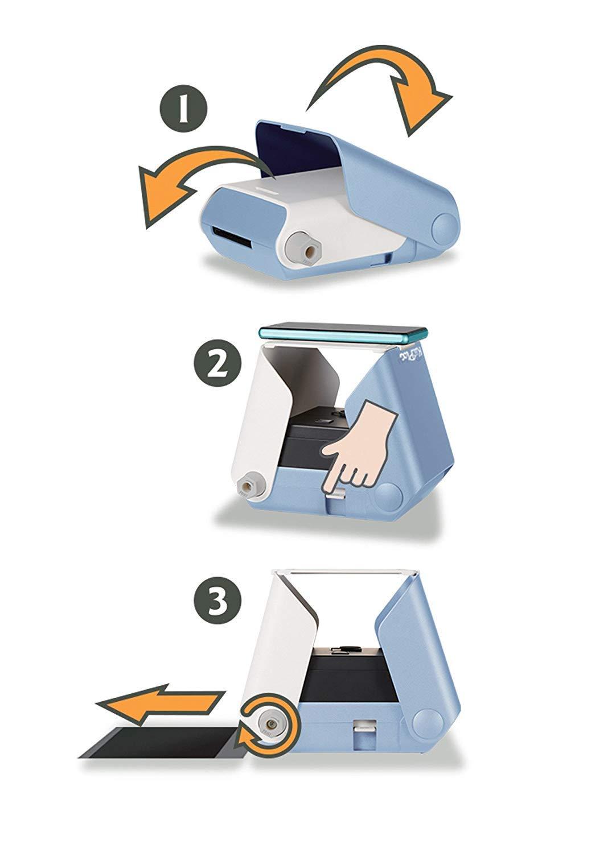 kiipix tm3364 Kit Impresora fotográfica para Smartphone con Protector de Pantalla de Fujifilm instax Mini, 10 Fotos, Azul