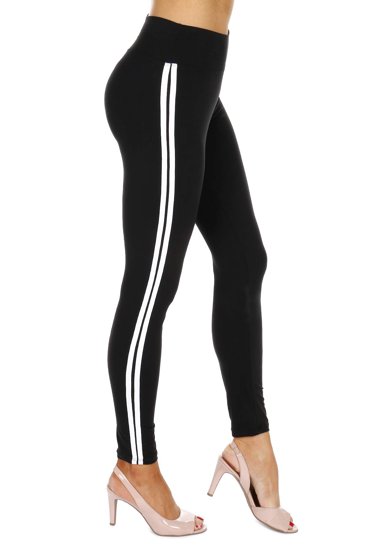 Most Comfort Fitted Stretch and 2-Stripes Activewear Jogger Track Leggings (One Size, Black)