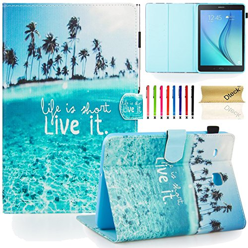 T375/T377 Case, Tab E 8.0' Case, Dteck(TM) Slim Fit Leather Case [Card Slot][Stylus Holder]Flip Stand Case for Samsung Galaxy Tab E 8.0 SM-T375/T377a/v/p Tablet, Charming Beach