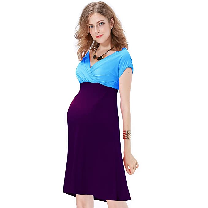 JET-BOND Maternity Dress Deep V Neckline Wrap Jersey Evening Dress ...