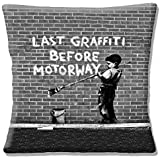 Banksy Graffiti Artist Last Graffiti before Motorway? Grey - 16 (40cm) Pillow Cushion Cover by Cushions Corner