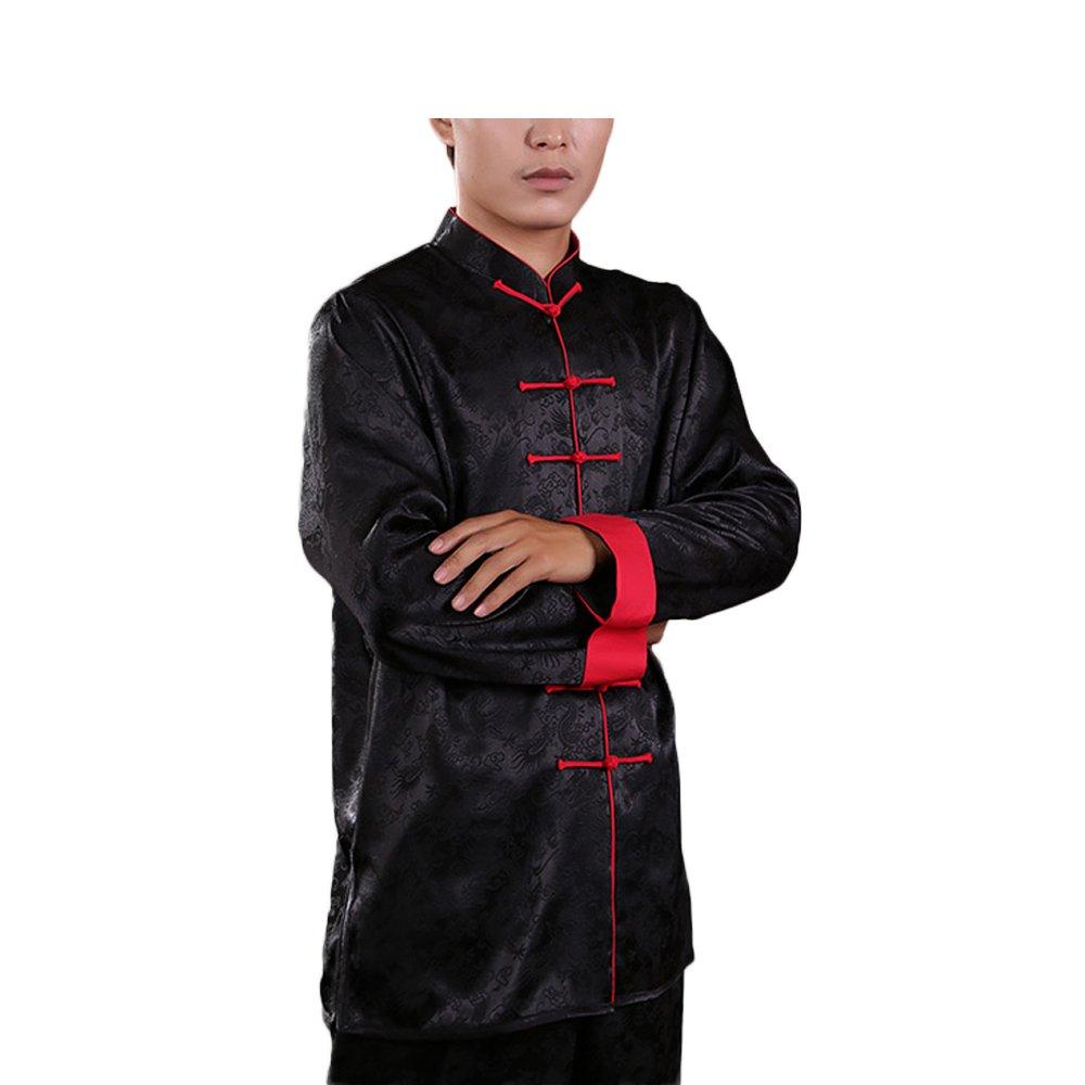 KIKIGOAL Breathable Unisex Silk Chinese Traditional Tai Chi Uniforms Kung Fu Clothing Tang Suit Martial Arts Wear (M, black)