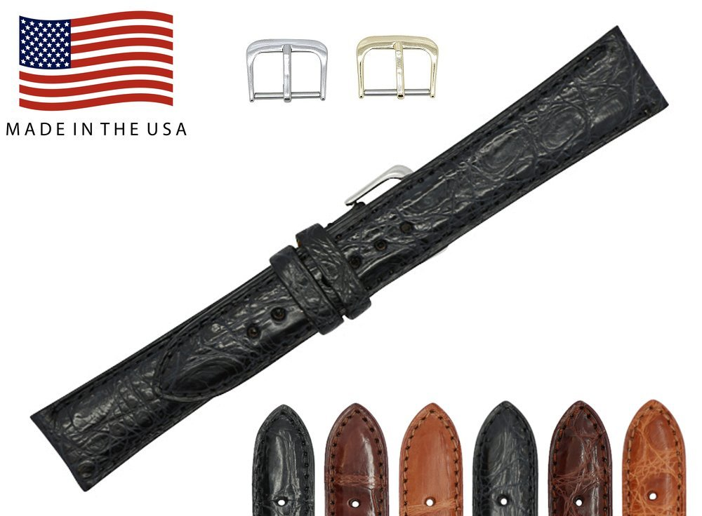 22mm Black Genuine Crocodile – Matte Padded Stitched – American Factory Direct - Replacement Watch Band Strap - Gold & Silver Buckles Included – Made in The USA by Real Leather Creations FBA460 ST