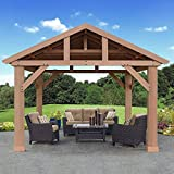 Pre-Stained Premium Cedar Wood & Aluminum 14' x 12' Outdoor Pavilion Gazebo
