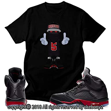 26ca604a066 Custom T Shirt Matching Style of Air Jordan 5 Retro Satin Bred JD 5 ...