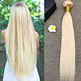 """Full Shine 16"""" 100% RAW Virgin Brazilian Remy Hair Weave Blonde Weft Human Hair Extensions 100g Per Bundle Blonde (Color #613)"""