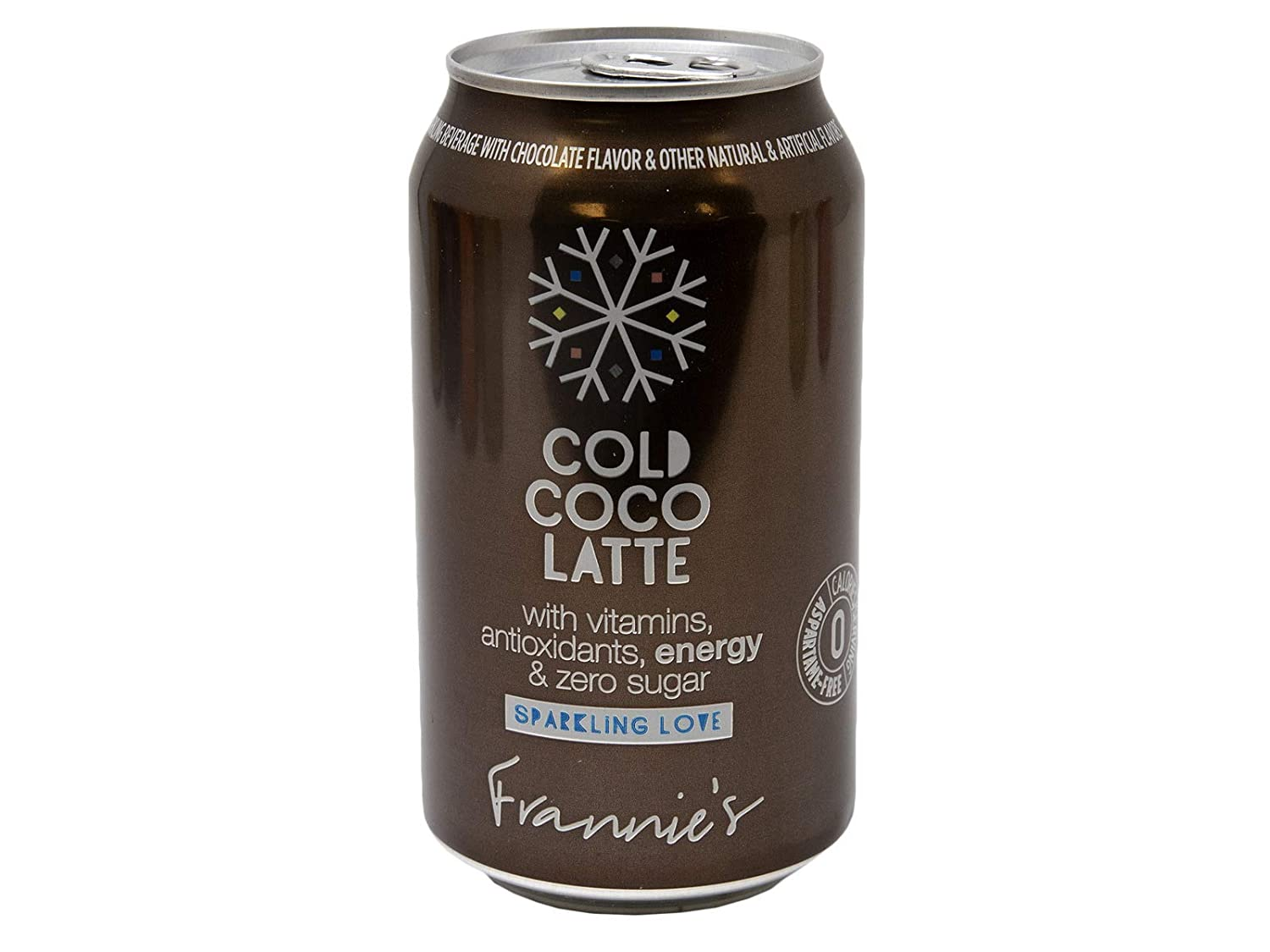 Frannie's Sparkling Cold Coco Latte, Protected With High-Density Foam, With Vitamins, Antioxidants, Energy, and Zero Sugar, 12 Oz. Cans (Case of 24 Cans)