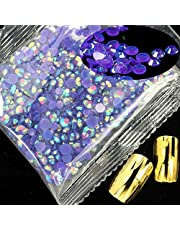 Nail Rhinestones 1000pcs 3mm Resin Rhinestones Flatback Round Glue On Non Hotfix Stones Appliques for Craft DIY Nail Art (Color : 09 Purple AB)