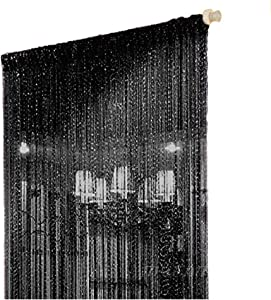 Duosuny Door String Curtain,Wall Panel Fringe Window Room Divider Blind, Home Patio Bedroom Decorative Tassel Screen Ribbon Strings Strip Silver Thread Screen for Wedding Coffee House (Black 1pcs)