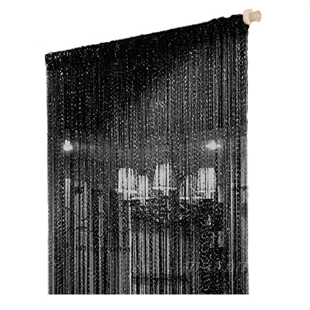 Duosuny 39x78 Inch Door String Curtain Rare Flat Silver Ribbon Thread Fringe Window Panel Room Divider Cute Strip Tassel for Wedding Coffee House Restaurant Parts (Pack of 2 Black)