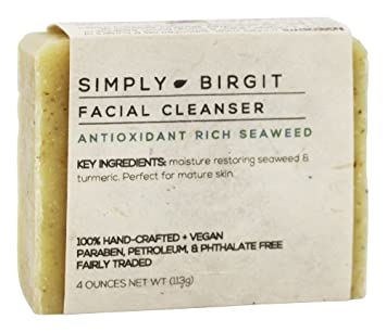 Simply Birgit - Facial Cleanser Bar Antioxidant Rich Seaweed - 4 oz. Matrixyl 3000 Skin Serum 1 oz. (Pack of 4)