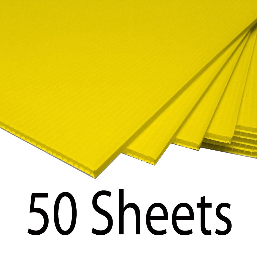 Greenstar Corrugated Plastic Cardboard Sign Blank Short Fluted 24'' x 18'' 4mm - 50 Yellow Sheets