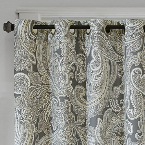 Grey Curtains For Living room , Casual Fabric Window Curtains For Bedroom , Ronan Paisley Grommet Window Curtains , 50X63