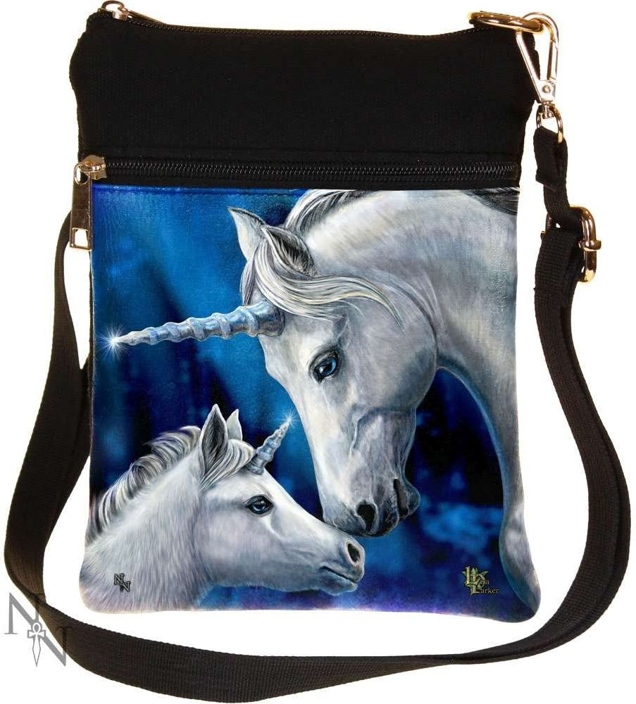 Blue Moon and Wolf Small Round Canvas Crossbody Messenger Bags for Women