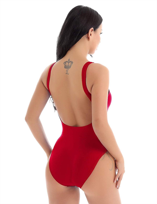 Freebily Costume Intero Donna Brasiliana Modellante Schiena Scoperta Mermaid Costume da Bagno Donna Vita Alta SGAMBATO Un Pezzo per Mare Piscina Spiaggia