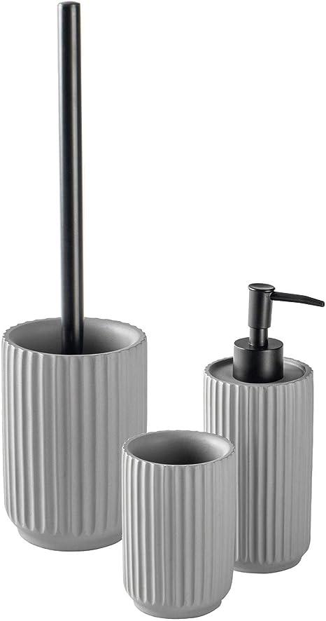 Harbour Housewares 3pc Bathroom Accessories Set Liquid Soap Dispenser Pump Toothbrush Tumbler Toilet Brush And Holder Concrete Grey Amazon Co Uk Kitchen Home