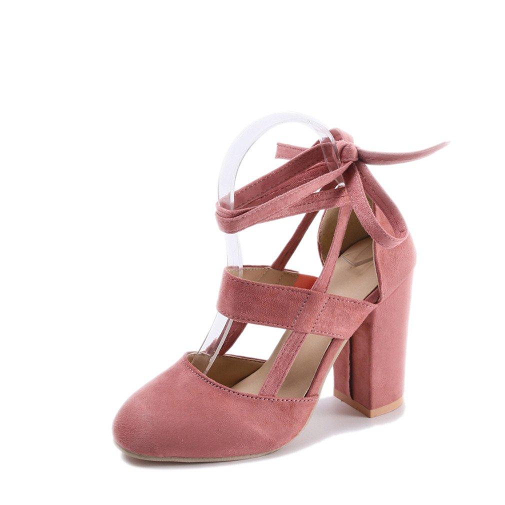 High Heel Schuhe Frauen Schuhe High Heels Pumps Schnürschuhe Sommer Hochzeit Schuhe Gladiator Sandalen Frauen Rosa 7,5