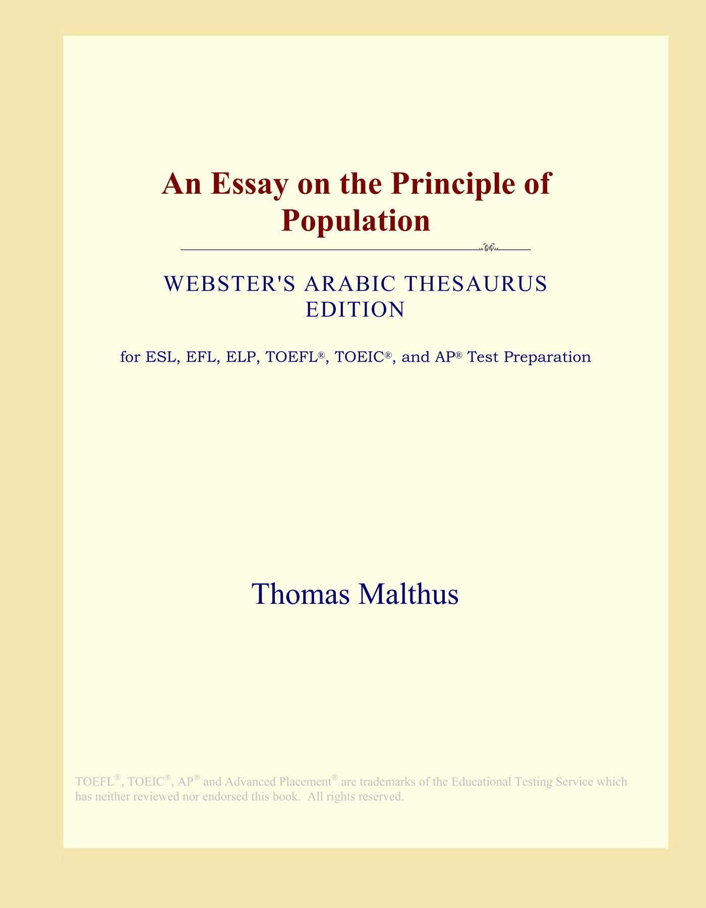 an essay on the principle of population websters arabic thesaurus  an essay on the principle of population websters arabic thesaurus  edition paperback  june
